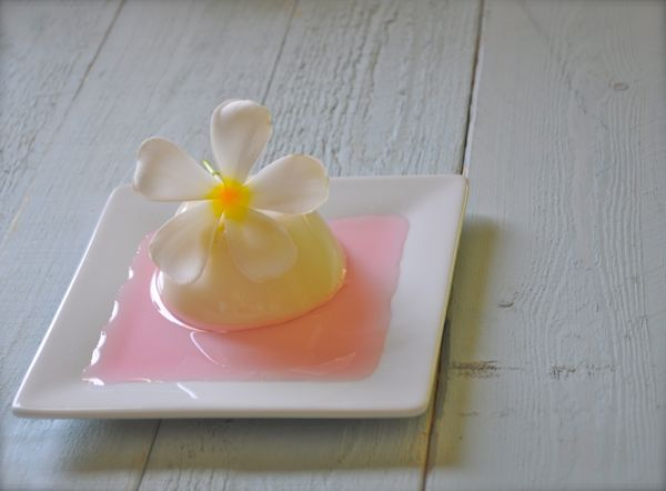 Cadamom panna cotta with rosewater syrup