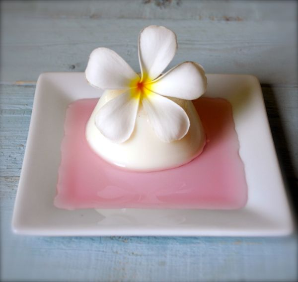 Cardamom panna cotta with rosewater syrup