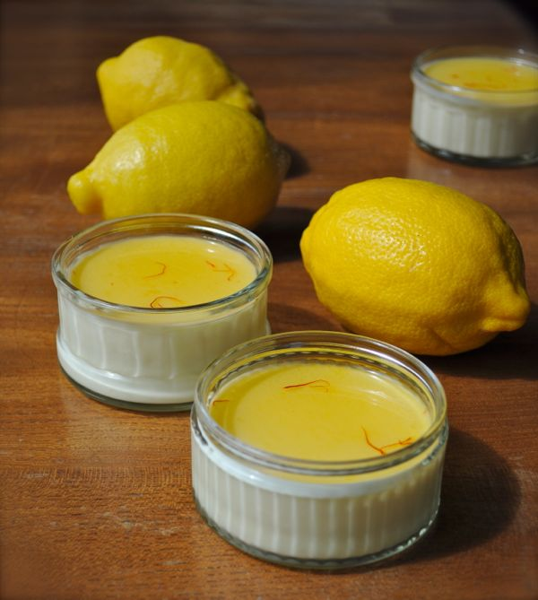Panna cotta with lemon and saffron syrup