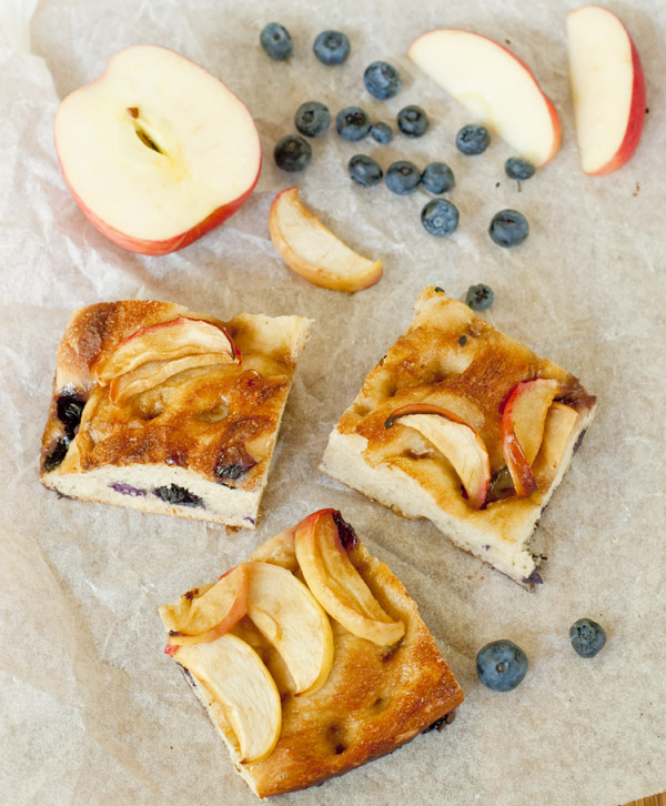 Blueberry and apple salted caramel focaccia