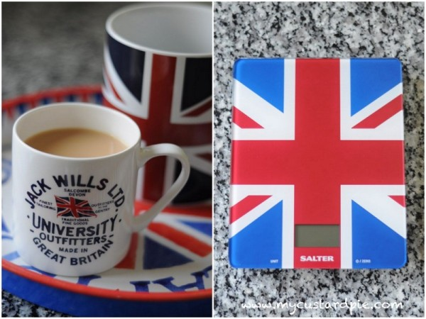 Union flags on mugs and scales