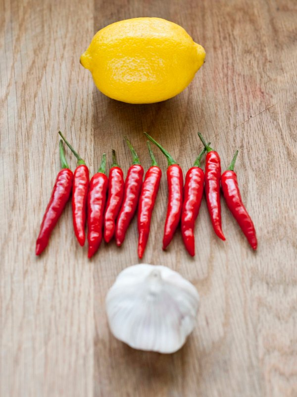 Lemons, chillies, garlic