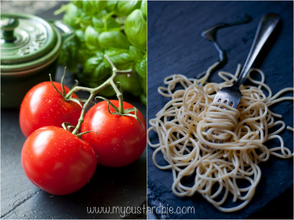 Tomatoes and spaghetti