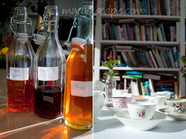 liqueurs and bookshelves
