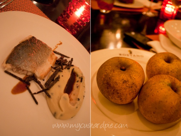Sea bass and gorgeous mashed potatoes with truffle. The apples before they were baked.