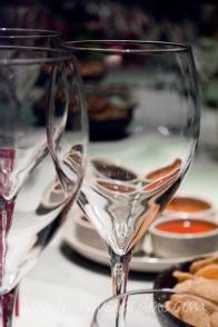 Thai food and wine glasses