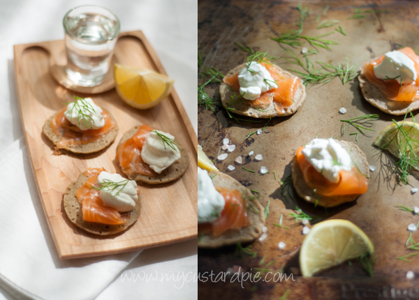 smoked salmon on blinis