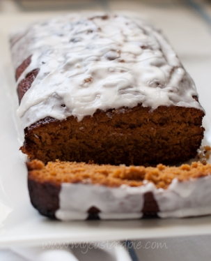 Ginger cake with lemongrass icing