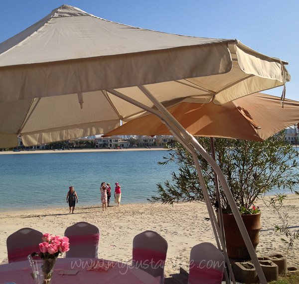 pink table and beach