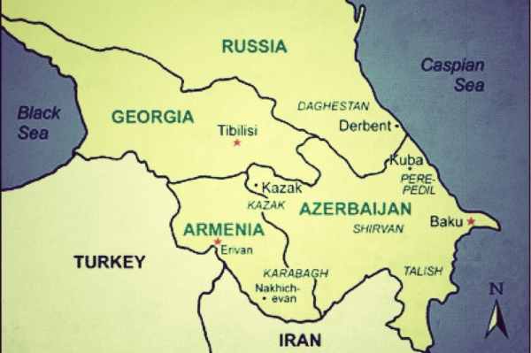 Map of the Caucasus, Turkey and Iran