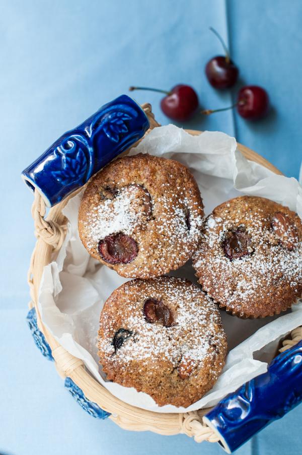 Cherry almond spelt muffins on mycustardpie.com