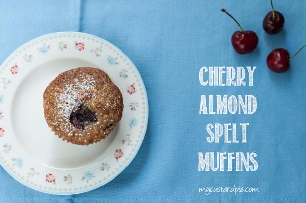 Cherry, almond, spelt muffin on mycustardpie.com