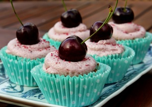 these courgette & cherry cupcakes (gluten free) with cherry cream cheese frosting by Kate of The Gluten Free Alchemist.
