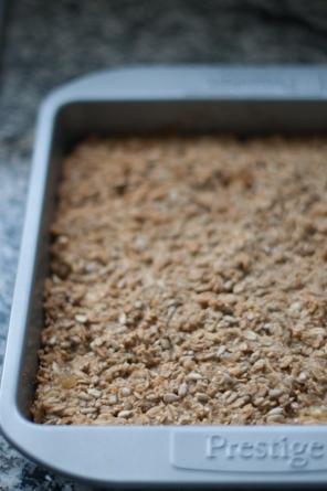 Pear, ginger and raw honey flapjack recipe on mycustardpie.com