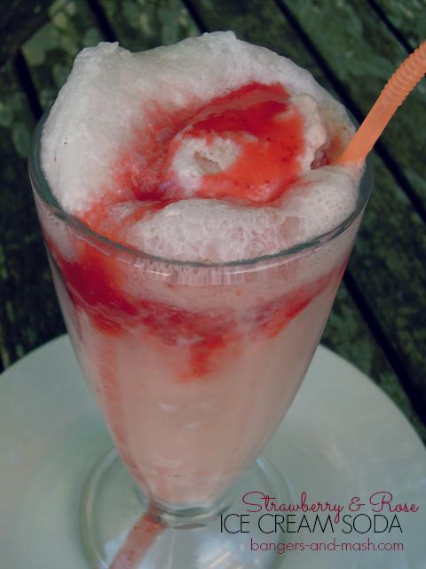 Strawberry and rose ice cream soda