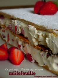 strawberry raspberry rose millefeuille