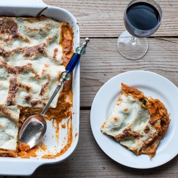 Tomato lentil and spinach lasagne reccipe on mycustardpie.com