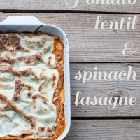 Tomato, lentil and spinach vegetarian lasagne