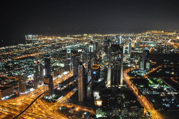 View from the Burj Khalifa at night