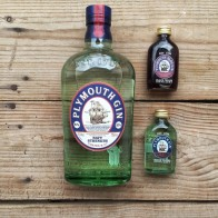 Plymouth navy strength, regular and sloe gin in my kitchen - mycustardpie.com