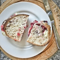 Turkey, ham, cranberry and bread sauce sandwich on sour dough. Delish