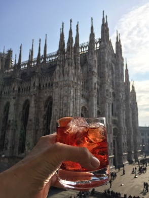 The Duomo and a Negroni with Aperol in Milan Italy. Read more on mycustardpie.com