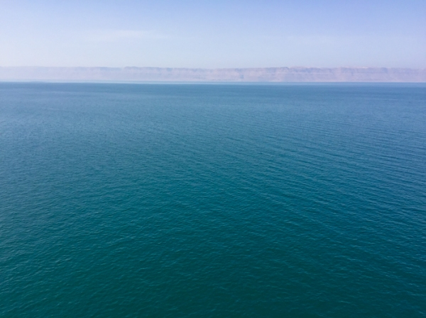Looking across the Dead Sea in Jordan on mycustardpie.com
