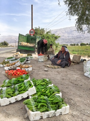 Roadside vegetable sellers in Jordan on mycustardpie.com