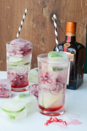 So simple to make and super refreshing. Pomegranate Cointreau fizz on mycustardpie.com