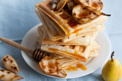 Waffles with pear and raw honey on mycustardpie.com