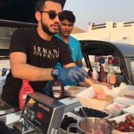 rose falooda waffles with chef B - see my custard pie for the recipe