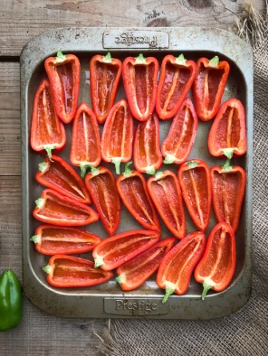 Roast caprese stuffed mini peppers