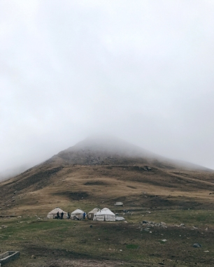Our yurts. Hiking and exploring in Kyrgyzstan