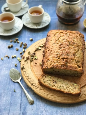 Courgette pistachio and yoghurt loaf with lemon and honey glaze