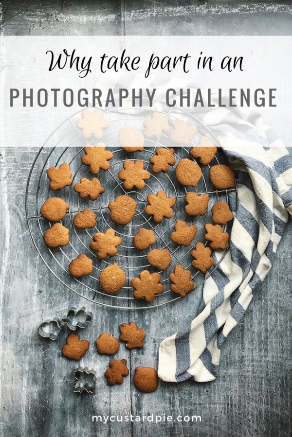 Gingerbread biscuits in a leaf shape for an Instagram photography challenge