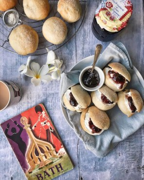Devonshire splits with cream and jam - as part of an Instagram Challenge