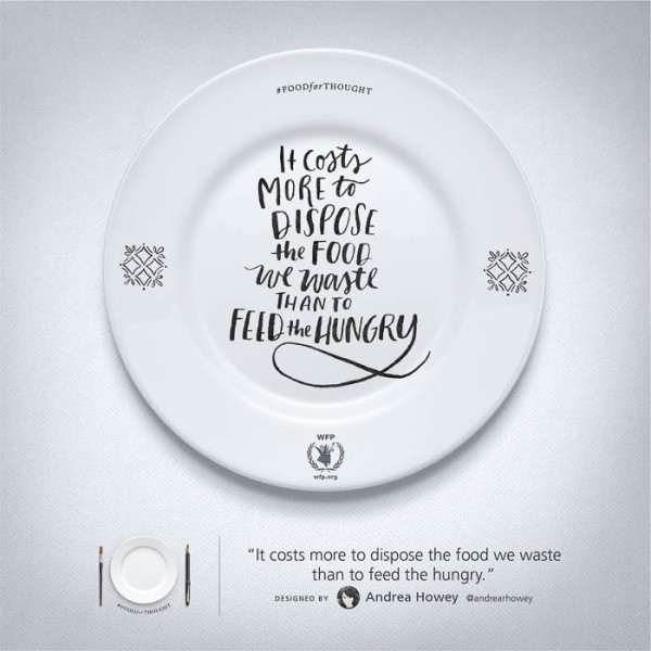 White plate with World Food Programme message on it