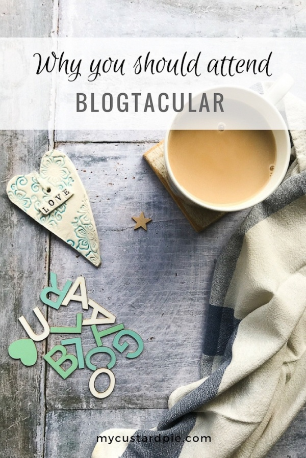 Cup of tea, letters that spell Blogtacular and a love heart