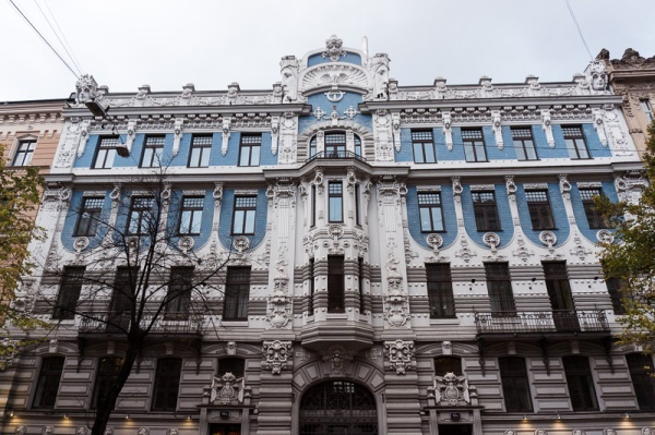 blue and white art nouveau building in riga