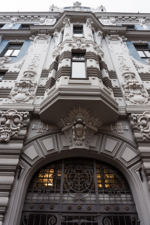 art nouveau decoration on blue and white house in riga