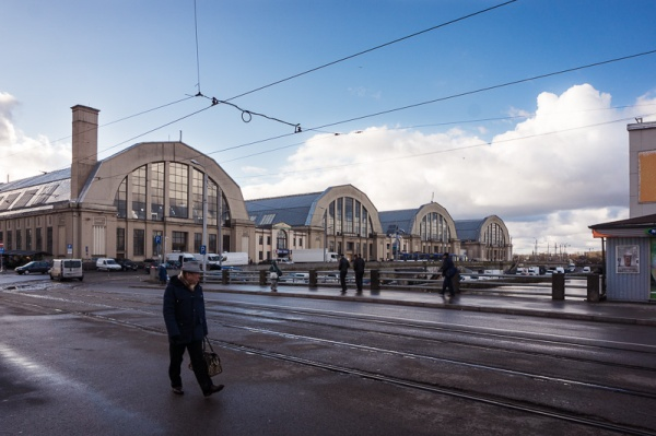 Domed buildings of the central market in Riga