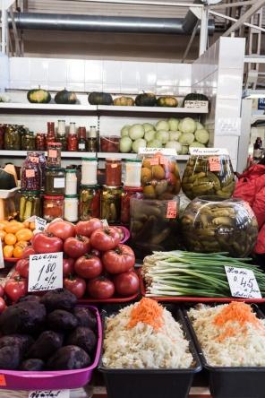 Piles of fruit, veg and sauerkraut
