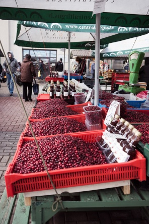 Trays of fresh cranberries at the market