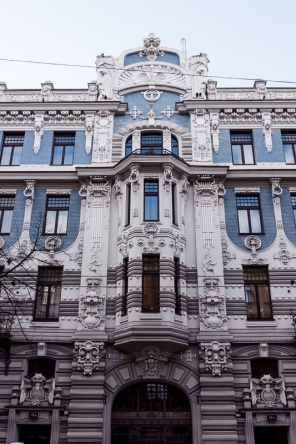 A blue and white art nouveau building in Riga