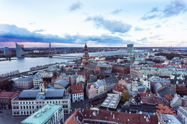 View over the city of Riga to the river