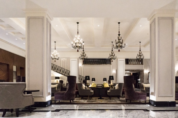 Hotel lobby with chandeliers