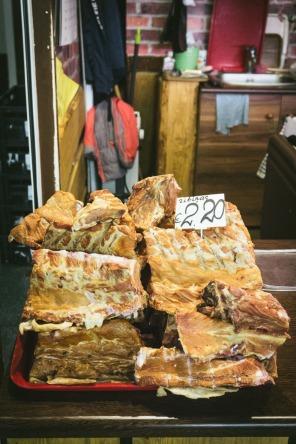 Pile of pork in market Riga