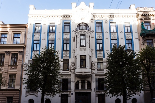 blue and white art nouveau building in riga latvia