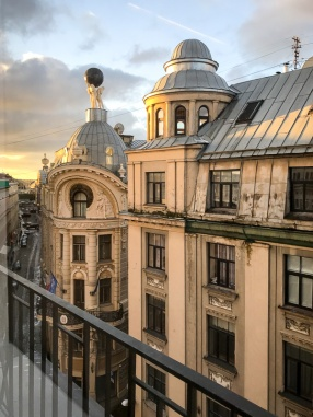 View of upper stories of building at sunrise in Riga