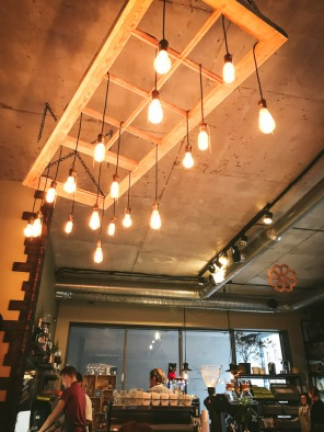 Lights hanging from ceiling in cafe Riga